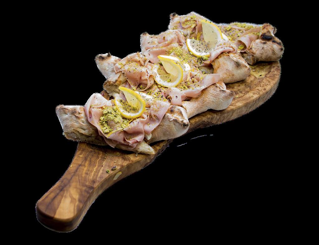 Pizza Mortadella limone pistacchio Apud Jatum
